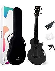 Enya Concert Ukulele Nova U 23 Inch Carbon Fiber Beginner and Advanced Ukuleles Set with Bag Strings Belt Capo Waterproof (Black)