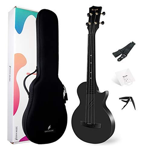 """Ukelele de concierto Enya Nova U 23"""" cuerpo en fibra de carbono con bolsa de ukelele,correa,cuerdas,capo(negro)"""