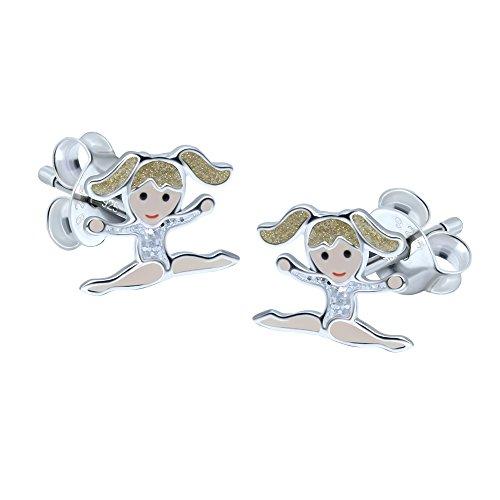 Orecchini in argento Sterling a forma di bambina ginnasta, bambina bionda con body rosa