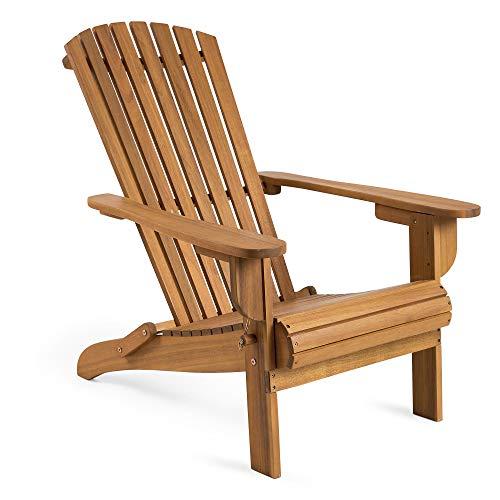 VonHaus klappbarer Adirondack-Stuhl – Outdoor Gartenmöbel aus Acacia Hartholz mit geölter Oberfläche