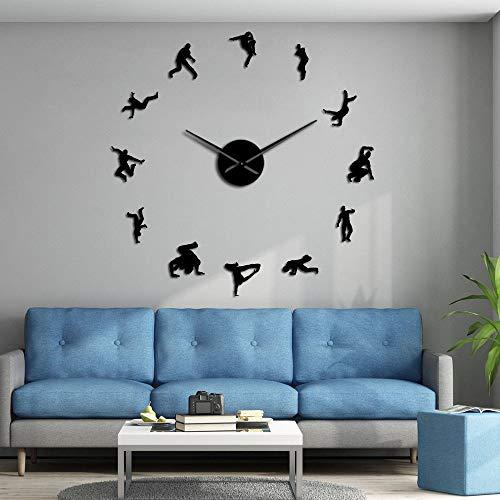EPSMK Reloj de Pared 3D DIY Hip Hop Dancers Silhouette Wall