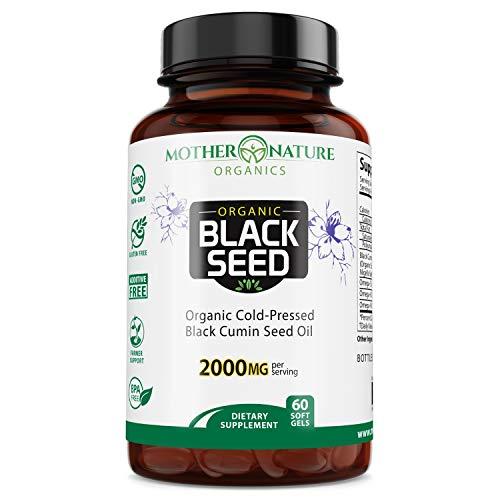 Increíbles cápsulas de aceite de semillas negras, aceite de comino negro orgánico, más oscuro, contenido de timoquinona más alto 1.08 %, planta Nigella Sativa de alta calidad, sin diluir, prensado en frío, aceite virgen, 1