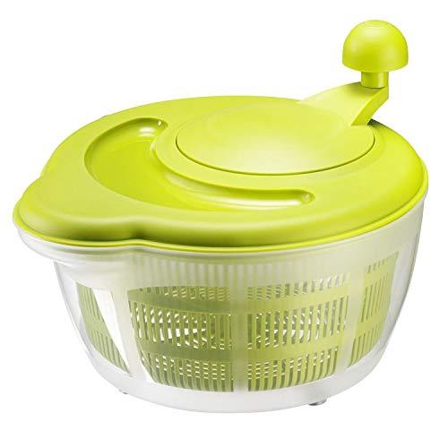 Westmark Salatschleuder, Fassungsvermögen: 5 Liter, ø 26 cm, Kunststoff, BPA-frei, Fortuna, Farbe: Transparent/Grün, 2432226A