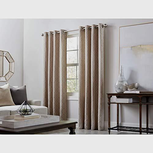 allen + roth Keldgate Oat Polyester Light Filtering Single Curtain Panel 50 W x 84 L