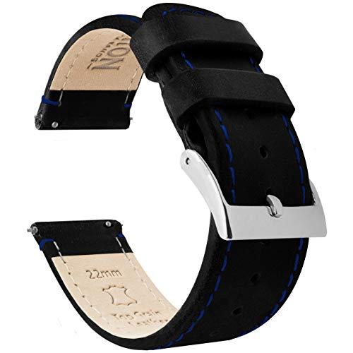 Barton Bracelet de montre en cuir grainé à libération rapide Différentes largeurs disponibles 20mm - Standard Black Leather / Blue Stitching
