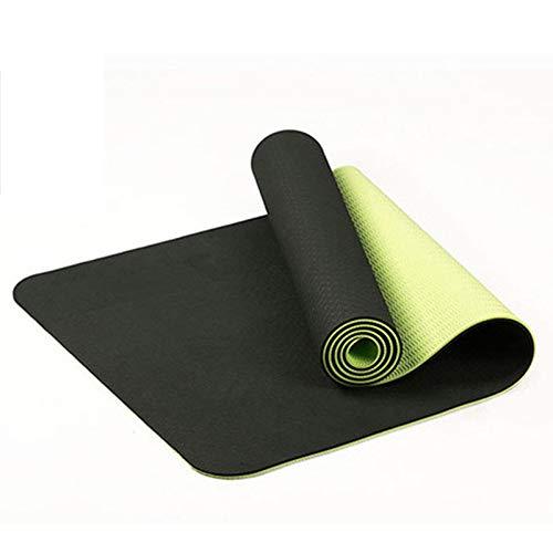 WOVELOT Tapis De Yoga Antidérapant Bicolore TPE De 6 Mm Tapis De Sport Tapis De Gymnastique De Fitness à La Maison sans Go?t 183X61Cm Noir