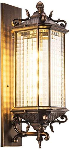 Lámpara de pared Retro Aplique, Lámpara de pared antigua Vintage E27 Retro rústico impermeable IP23 Lámpara al aire libre marrón al aire libre Aluminio y lámpara de cristal Lámpara Retro Fachada Lámpa