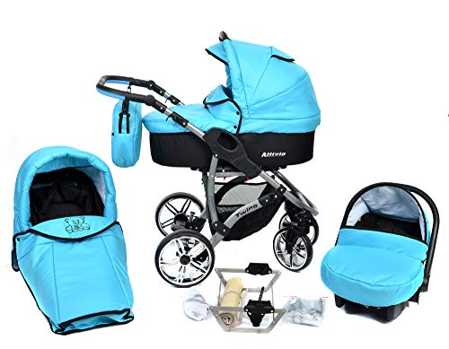 ALLIVIO, 3-in-1 Travel System with Baby Pram, Car Seat, Pushchair & Accessories (3in1 Travel System -Baby tub, Sport seat, Car seat, Black & Turquoise)