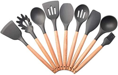 SHATOUYU 9PC Silicone Nonstick Kitchenware, Cookware, Slotted Spoon, Slotted Turner, Mixer, Heat Set Kitchen Utensils, Bakeware, Gray SA620