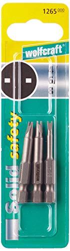 Wolfcraft 1265000 3 x Puntas Seguridad Spanner 4-6-8, 50mm, Set de 3 Piezas