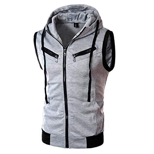 MRULIC Herren Kapuzenpullover Pure Color Langarmshirt ärmelloses Top(Grau,EU-44/CN-XL)