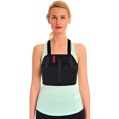 ORTONYX Rib and Chest Support Brace with Front Stay - XL Black