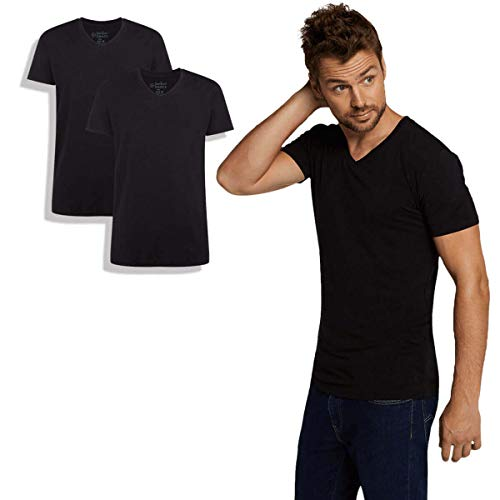 Bamboo Basics - Herren Bambus T-Shirt - Velo - V-Ausschnitt - 2er-Pack - Extra weich und Atmungsaktiv - Schwarz - M