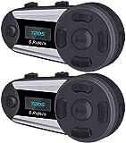 Intercomunicador Casco Moto, Intercomunicador Casco Moto Dúplex Inalámbrico Bluetooth Estéreo Impermeabilidad (Móvil / 1200M / MP3 / GPS / FM / 300 Horas en Espera / Ruido / Manos Libres) 2 Pieza