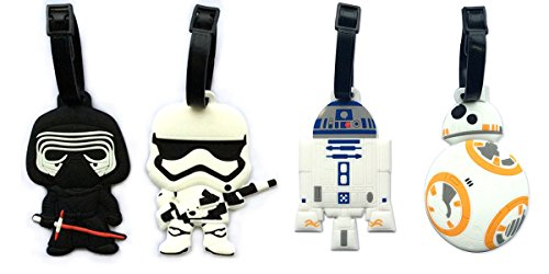 5' Inspired 4pcs Luggage Tags Charms kylo ren BB8 Stormtrooper R2D2