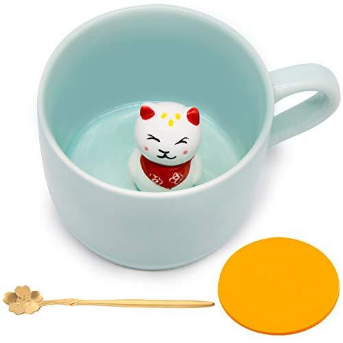 Keramik Kaffeetasse Lustig Teetassen Handgemachte Nette Katze Tasse 3D Für Freunde Mitbewohner Familie oder Kinder 3D Niedliche Tierkaffeetasse Als Überraschungsgeschenk Geburtstagsgeschenk 8.5 Oz