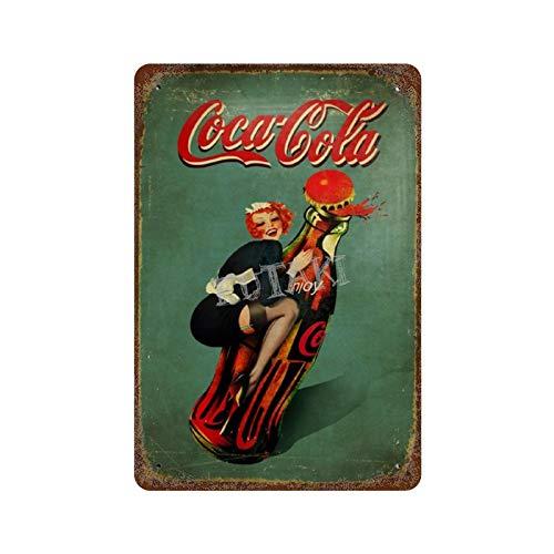 Coca Cola Sexy Strümpfe Vintage Blechschild Kunst Eisen Gemälde Rost Poster Dekoration Aluminium Plakette interessante Persönlichkeit Band Film für Hotel Cafe