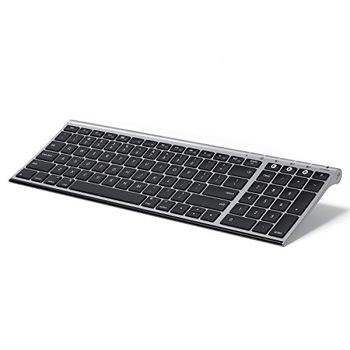 Multi-Device Bluetooth Keyboard for Mac OS, Jelly Comb Rechargeable Slim Wireless Keyboard with Number Pad Compatible for MacBook Pro/Air, iMac, iPhone, iPad Pro/Air/Mini -K15G-2- Black and Gray