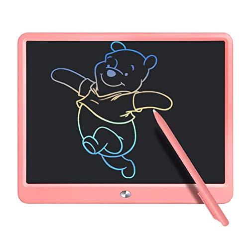 Jefshon LCD Schreibtafel mit Bunter Bildschirm, 15 Zoll Löschbares Kinder Zeichenblock Doodle Board,Grafiktablet Zeichenbrett mit Schalterschloss,Geschenk für Kinder Erwachsene (15 Zoll, Rosa)