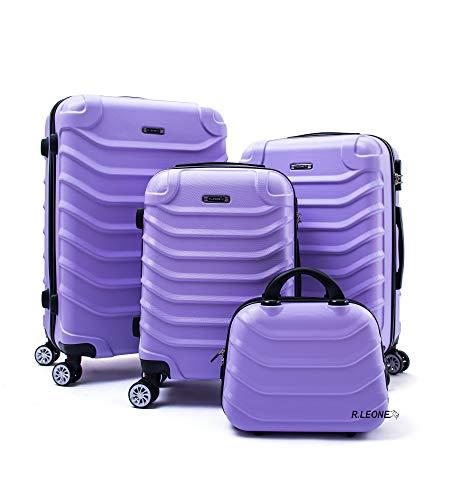 R.Leone Valigia Set 4 Trolley Rigido grande, medio, bagaglio a mano e beauty case 8 ruote in ABS 2026 (Lilla, Set 4 XS S M L)