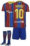 AMD SPORTS Barca Camiseta para niños Messi Viene con Pantalones Cortos y Calcetines, edición hogar Tallas para niños (3-14 años)…… (Messi Home, 128)