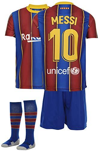 AMD SPORTS Barca Camiseta para niños Messi Viene con Pantalones Cortos y Calcetines, edición hogar Tallas para niños (3-14 años)…… (Messi Home, 140)