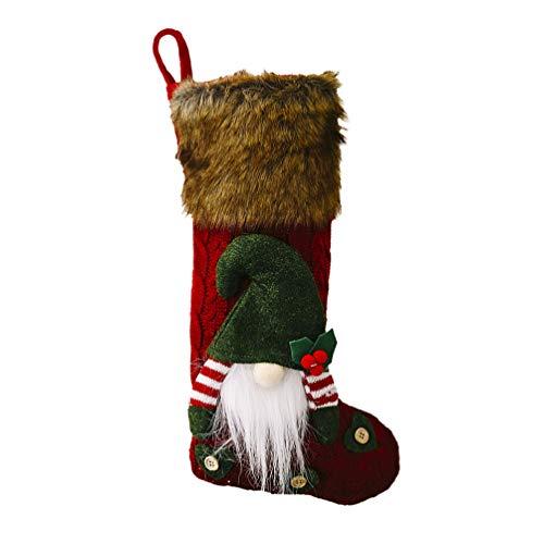 BESPORTBLE Weihnachtsstrümpfe Handgemachte Plüsch Tomte GNOME Skandinavischen Santa Hängenden Strumpf Weihnachtssocken für Ferienhaus Weihnachten Kamin Dekorationen (Rot)