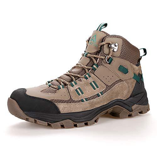 Men's Fur Lined Hiking Boots Winter Warm Water Repellent Outdoor Sport Shoes Walking Khaki 9