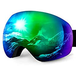 Karvipark Ski Goggles, Ski Snowboard Glasses Glasses Wearers Ski Goggles Mirrored, Double Lens OTG UV Protection Anti Fog Snowboard Goggles Women Men Children for Skiing Snowboard (Green VLT10%)