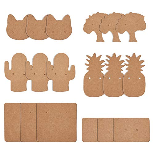 Cheriswelry 300pcs Kraft Paper Earring Display Cards 6 Styles Blank Jewelry Cards Holders Ear Studs Paper Price Label Tags for Jewellery Displaying