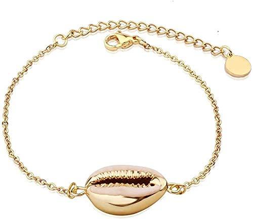Pulsera de concha de Bohemia para mujer, pulseras de cadena de eslabones de acero inoxidable de Color dorado, joyería de playa de verano, longitud 21Cm