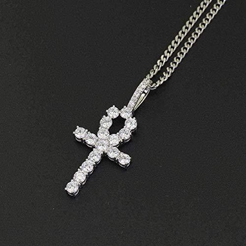 zxcdsaqwe Co.,ltd Collar Cruz Collar Colgante Cobre Incrustado Cz Piedra Collar Hombres y Mujeres Joyería 60Cm