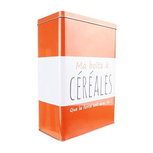 LA BOITE A BT6512 Ma Boîte à Céréales Métal Orange 17, 40 x 9, 30 x 24, 10 cm