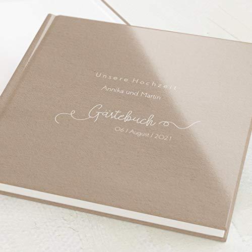 sendmoments Hochzeit Gästebuch, Herzlichst, personalisiert mit Ihrem Wunschtext, hochwertige Blanko-Innenseiten, 32 Seiten oder mehr, Hardcover-Buch, quadratisch - Vintage