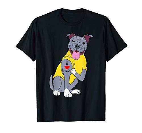 I Love Mom Mommy Colección Día de la Madre Perro Pitbull Camiseta