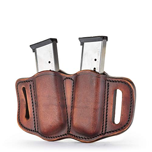 1791 GUNLEATHER 2.1 Mag Holster - Double Mag Pouch for Single Stack Mags, OWB Magazine Pouch for Belts - Classic Brown, Stealth Black, Black & Brown and Signature Brown (Vintage)