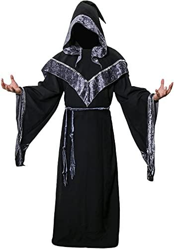 DONGYAO Traje de mago oscuro para hombre medieval monje oscuro místico padrino brujo con capucha capa capa de Halloween disfraz de cosplay para mujeres adultas (talla XL: