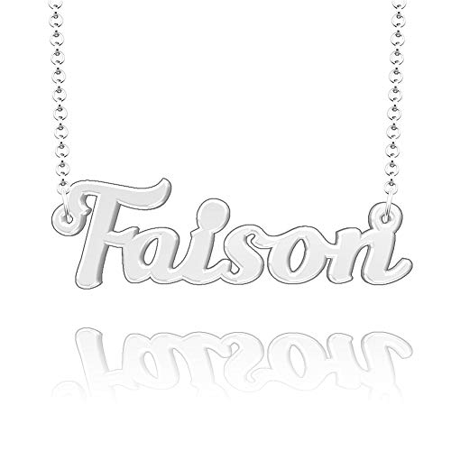 EV.YI Jewels Faison Custom Personalized Name Necklace Last Name Plate Pendant Gift for Family Mom Dad Friend Lover