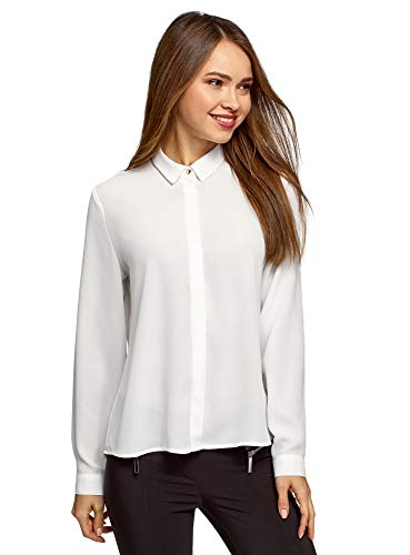 oodji Ultra Damen Bluse Basic aus Fließendem Stoff, Weiß, DE 36 / EU 38 / S
