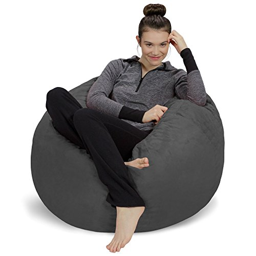 Sofa Sack - Plush, Ultra Soft Bean Bag Chair - Memory Foam Bean Bag Chair with Microsuede Cover - Stuffed Foam Filled Furniture and Accessories for Dorm Room - Charcoal 3' chair gaming gray