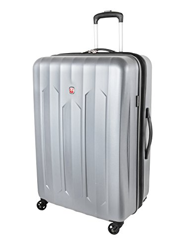 Swiss Gear Chrome Large Checked Luggage - Hardside Expandable Spinner Luggage 28-Inch, Silver