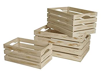 Wald imports whitewash wood decorative storage crates
