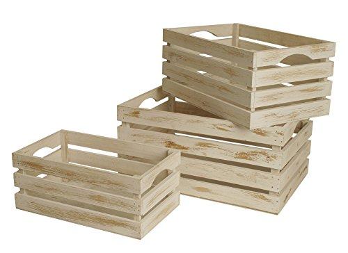 Wald Imports Whitewash Wood Decorative Storage Crates, Set of 3
