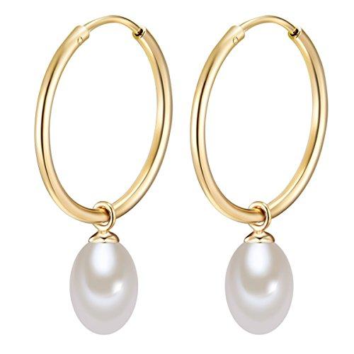 Valero Pearls Damen-Creolen mit Perlen-Anhänger Sterling Silber gelbvergoldet mit Süßwasser-Zuchtperlen weiß - Perlenohrhänger Silber-Ohrringe