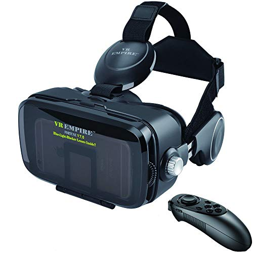 VR Headset Virtual Reality Headset 3D Glasses with 120°FOV, Anti-Blue-Light Lenses, Stereo Headset, for All Smartphones with Length Below 6.3 inch Such as iPhone & Samsung HTC HP LG etc (BR)