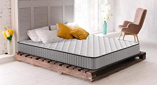 BEDDING - Colchón Roll Basic con Acolchado con Fibras Naturales, Tejido Damasco y firmeza Medio-Alta, Altura 18 cm. - 105x190cm