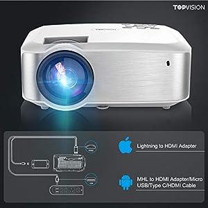 TOPVISION Mini Beamer, Native 720P Heimkino Beamer Unterstützt 1080P Full HD, 5500 Lumen Video Beamer mit 240'' Display, 60000 Stunden LED Beamer Kompatibel mit HDMI/USB/SD/AV/VGA