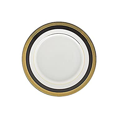 10 Strawberry Street Sahara Black 8  Salad/Dessert Plate, Set of 6, White/Black/Gold