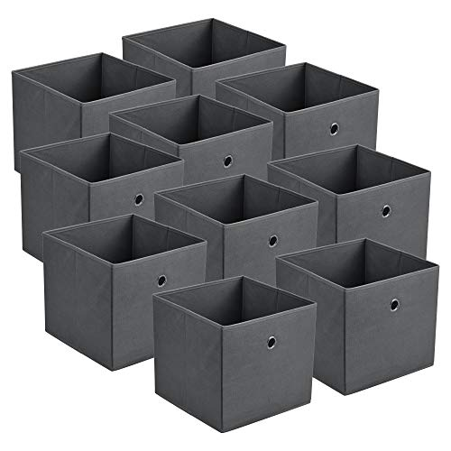 [en.casa] Faltbox 10er-Set Aufbewahrungsbox 30x30x28 cm Klappbox Organizer Vliesstoff Dunkelgrau