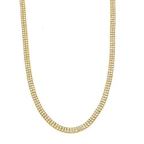 YOLANDE heren halsketting tennishalsketting 2 regels ketting kunstmatige diamanten hip hop schakelketting halsketting cadeau voor mannen